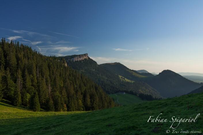 Paysage typique du Jura suisse: la face nord du Chasseron vue depuis le Crêt-de-la-Neige, sur les hauteurs de la Robella immortalisée un soir d'été.
